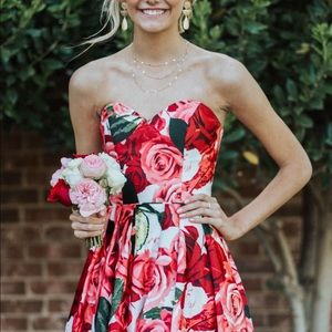 David's Bridal strapless floral formal